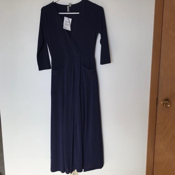 ASOS navy floor length wrap front dress pockets
